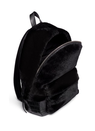 Detail View - Click To Enlarge - Alexander Wang  - 'Bookbag' kangaroo fur croc effect leather backpack