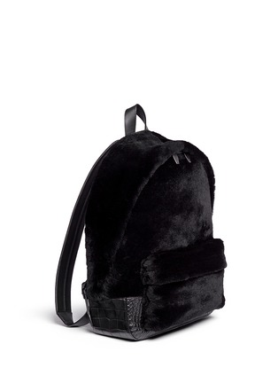 Front View - Click To Enlarge - Alexander Wang  - 'Bookbag' kangaroo fur croc effect leather backpack