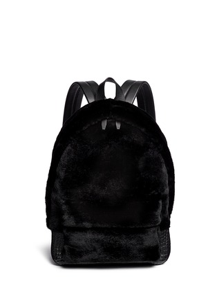 Main View - Click To Enlarge - Alexander Wang  - 'Bookbag' kangaroo fur croc effect leather backpack