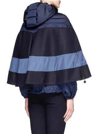Back View - Click To Enlarge - Moncler - 'Grises' drawstring hem wool flannel cape coat