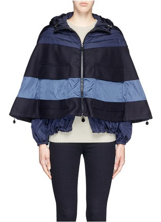 Main View - Click To Enlarge - Moncler - 'Grises' drawstring hem wool flannel cape coat