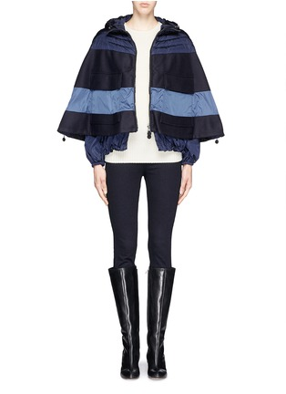 Figure View - Click To Enlarge - Moncler - 'Grises' drawstring hem wool flannel cape coat