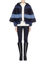 'Grises' drawstring hem wool flannel cape coat