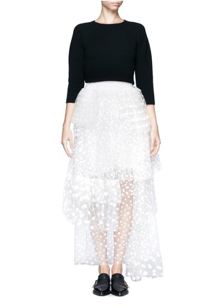 CHLOÉ-Polka-dot mesh tiered skirt