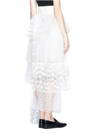 Back View - Click To Enlarge - Chloé - Polka-dot mesh tiered skirt