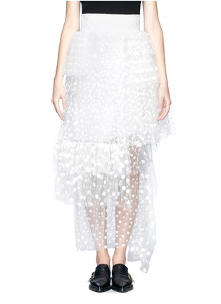 Main View - Click To Enlarge - Chloé - Polka-dot mesh tiered skirt