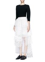 Polka-dot mesh tiered skirt