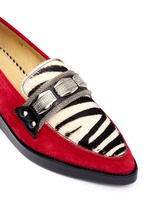 Zebra print pony hair suede loafers