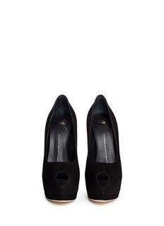 GIUSEPPE ZANOTTI DESIGN'Sharon' crystal pavé heel suede peep toe pumps