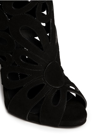 Detail View - Click To Enlarge - Giuseppe Zanotti Design - 'Coline' floral cutout suede knee high boots