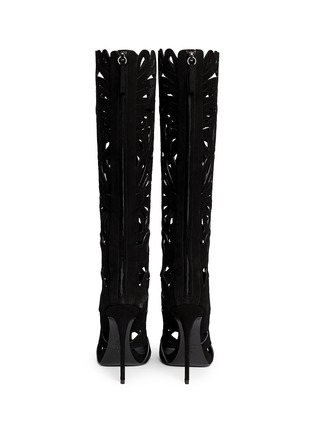 Back View - Click To Enlarge - Giuseppe Zanotti Design - 'Coline' floral cutout suede knee high boots