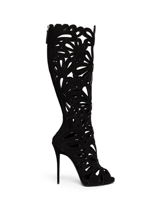 Main View - Click To Enlarge - Giuseppe Zanotti Design - 'Coline' floral cutout suede knee high boots