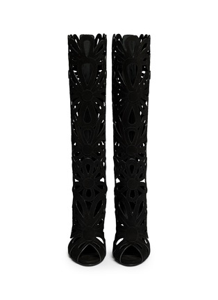 Figure View - Click To Enlarge - Giuseppe Zanotti Design - 'Coline' floral cutout suede knee high boots