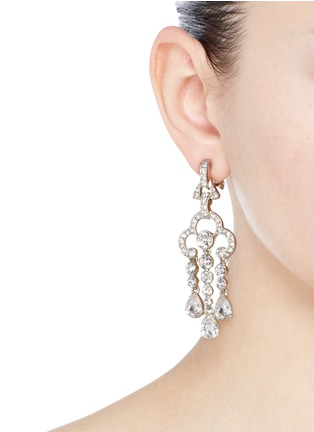 Figure View - Click To Enlarge - Kenneth Jay Lane - 'Art Deco' glass crystal chandelier clip earrings