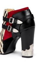 Detachable harness calf hair suede cowboy booties