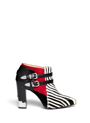 TOGA ARCHIVES-Detachable harness calf hair suede cowboy booties