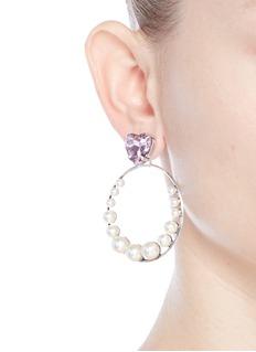 Anton HeunisHeart vintage stone Swarovski pearl hoop earrings