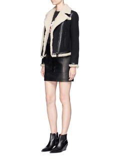 Neil BarrettElastic front sheepskin leather mini skirt