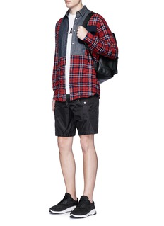 Dsquared2 Check plaid denim bib herringbone shirt