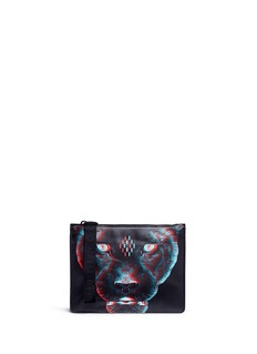 Marcelo Burlon 'Rufo' panther print leather zip pouch