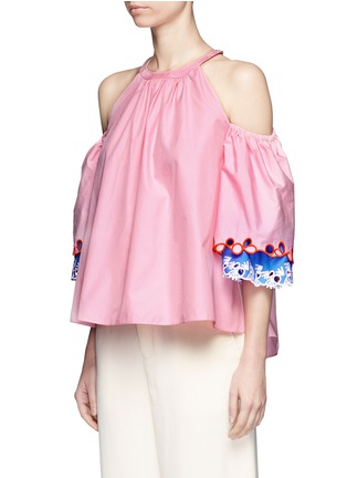 Front View - Click To Enlarge - Peter Pilotto - Embroidered trim poplin cold shoulder top