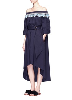 Peter Pilotto Deco lace belted off-shoulder dress