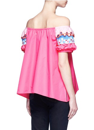 Back View - Click To Enlarge - Peter Pilotto - Embroidered trim poplin off-shoulder top
