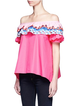 Front View - Click To Enlarge - Peter Pilotto - Embroidered trim poplin off-shoulder top