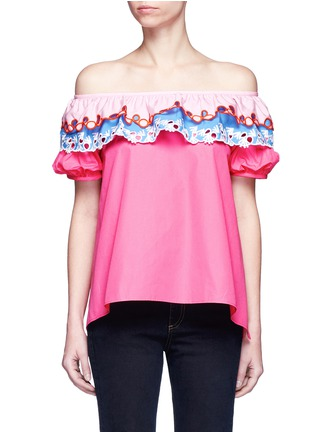 Main View - Click To Enlarge - Peter Pilotto - Embroidered trim poplin off-shoulder top