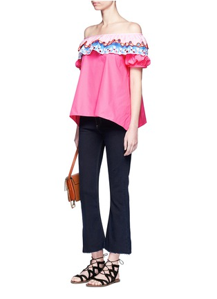 Figure View - Click To Enlarge - Peter Pilotto - Embroidered trim poplin off-shoulder top