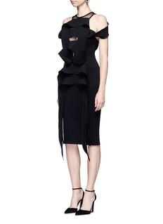 Maticevski'Priestess' cascade strap cold shoulder dress