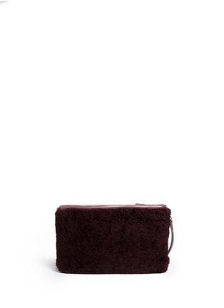 Back View - Click To Enlarge - Anya Hindmarch - 'Ghost' shearling zip pouch