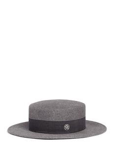 Maison Michel'Kiki' rabbit furfelt boater hat
