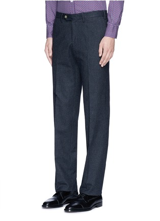 Front View - Click To Enlarge - Canali - Regular fit houndstooth cotton flannel chinos