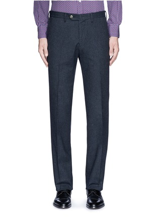Main View - Click To Enlarge - Canali - Regular fit houndstooth cotton flannel chinos
