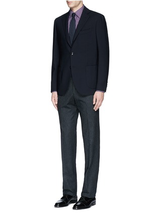 Figure View - Click To Enlarge - Canali - Regular fit houndstooth cotton flannel chinos