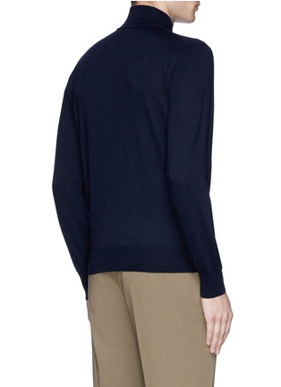 Back View - Click To Enlarge - Canali - Suede trim half zip wool sweater