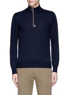 CanaliSuede trim half zip wool sweater