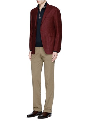 Figure View - Click To Enlarge - Canali - Suede trim half zip wool sweater