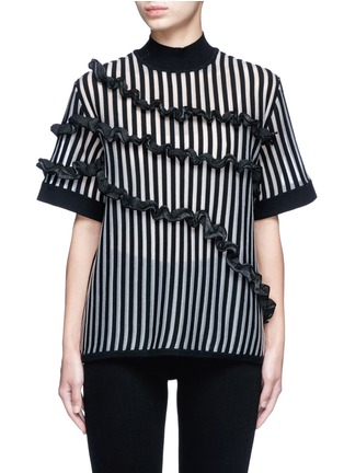 Main View - Click To Enlarge - Opening Ceremony - Stripe ruffle Merino wool blend boxy T-shirt