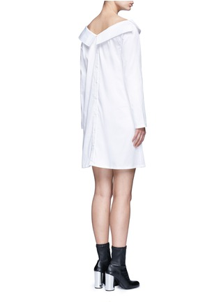 Back View - Click To Enlarge - Opening Ceremony - Wide collar oversize sateen shirt dress