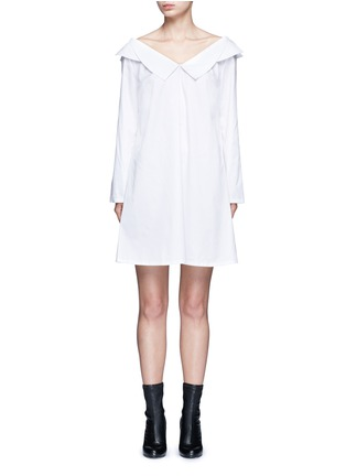Main View - Click To Enlarge - Opening Ceremony - Wide collar oversize sateen shirt dress