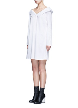 Figure View - Click To Enlarge - Opening Ceremony - Wide collar oversize sateen shirt dress