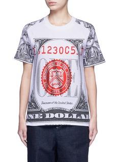 Opening Ceremony'One' dollar bill print cotton T-shirt