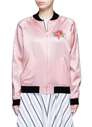 Detail View - Click To Enlarge - Opening Ceremony - Reversible floral embroidery silk varsity jacket