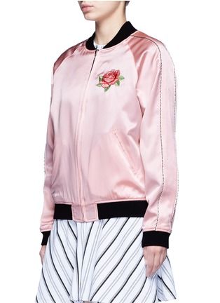 Front View - Click To Enlarge - Opening Ceremony - Reversible floral embroidery silk varsity jacket