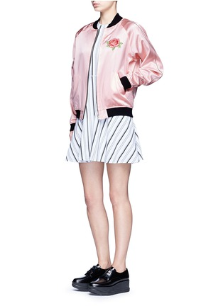Figure View - Click To Enlarge - Opening Ceremony - Reversible floral embroidery silk varsity jacket