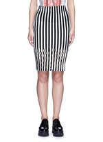 Perforated stripe Merino wool blend pencil skirt