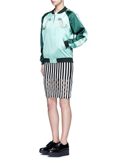 Opening Ceremony Perforated stripe Merino wool blend pencil skirt