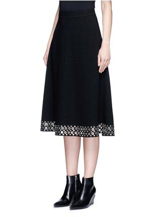 Front View - Click To Enlarge - Alexander Wang  - Grommet border high waist skirt